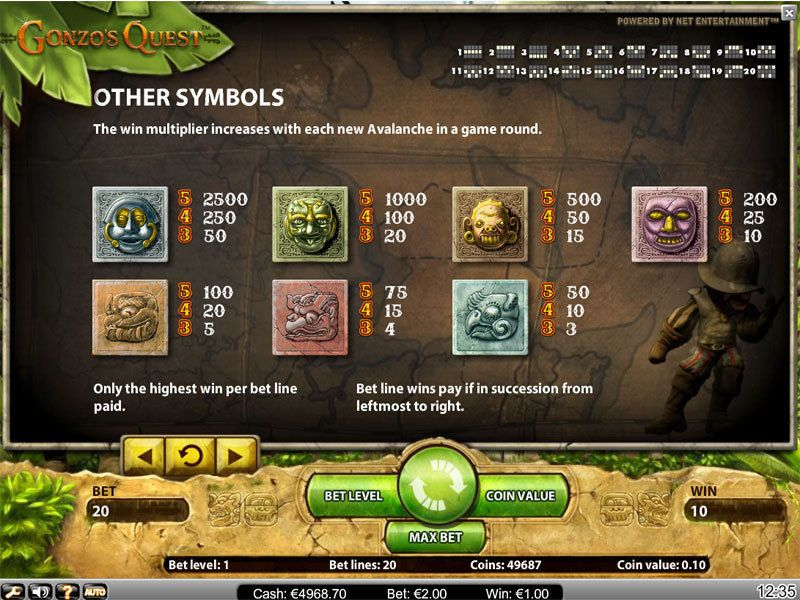 Gonzo's Quest Slot Screenshot
