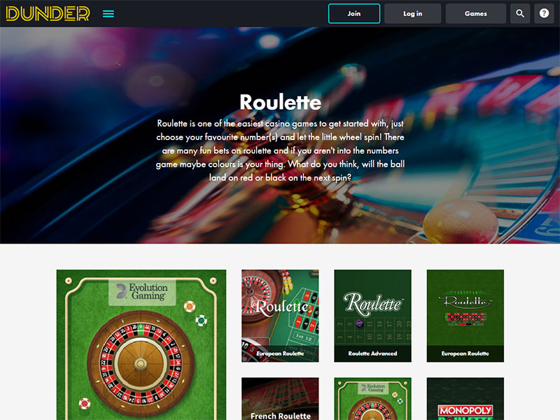 Dunder Casino Roulette
